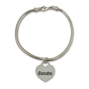Sterling Silver Engraved Heart Name..