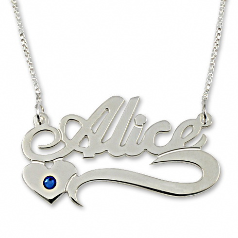Sterling Silver Underlined Name Necklace with Heart and Swarovski