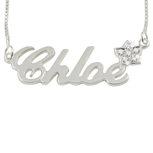 Sterling Silver Name Necklace With Flower Diamond