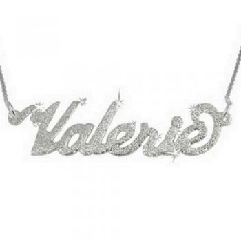 Sparkling Diamond-Cut Sterling Silver Carrie style Name Necklace