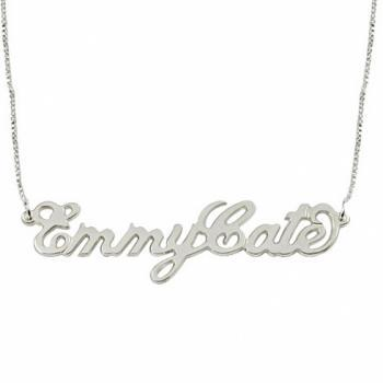 "Two Capital ""Carrie"" Style Name Necklace in Sterling Silver"