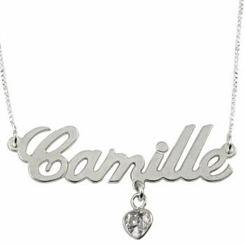 Sterling Silver Name Necklace with Heart Shaped Swarovski Crystal