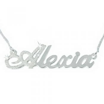 First Letter Diamond-cut Sparkling Sterling Silver Name Necklace