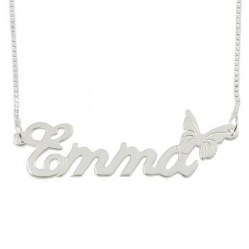 Sterling Silver Name Necklace with Butterfly
