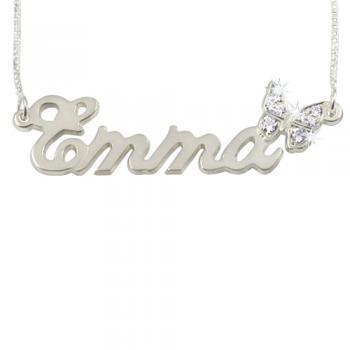 Sterling Silver Name Necklace With Diamond Butterfly