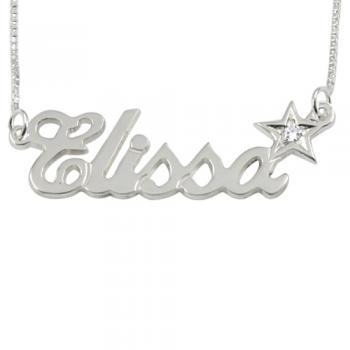 Sterling Silver Name Necklace With Star Diamond