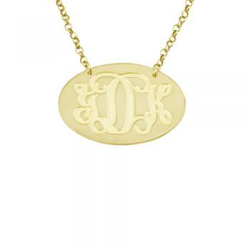 Oval Gold Over Silver Monogram Necklace